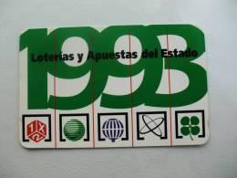 Lottery/Lotaria/Loterie Spain Pocket Calendar 1993 - Tamaño Pequeño : 1991-00