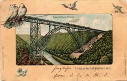 Gruss Aus Dem Bergischen Land, Kaiser Wilhelm Brucke. Train On Bridge, PU 1904 (2 Scans) - Allemagne