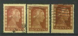 VEND TIMBRES D ' ARGENTINE , N° 519 X 3 NUANCES DIFFERENTES !!!! - Argentina