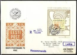 B.12.NOV.088.  GROOT  POSTSTUK  VAN  ESTLAND NAAR  DUITSLAND. 1993. BLOK 5.  AANGETEKEND. - Estonia