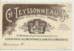MAISON CH. TEYSSONNEAU J. - BORDEAUX 58 RUE D´ARMAGNAC - CONSERVES ALIMENTAIRES & FRUITS CONSERVES - Bordeaux