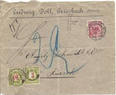 1898 Briefausschnitt Nach Zürich Mit Nachporto - Deutschland