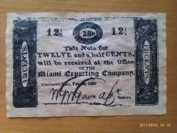 Billete Cincinnati. 12,1/2 Céntimos. 1820. Estados Unidos De América - Valuta Coloniale (XVIII Secolo)