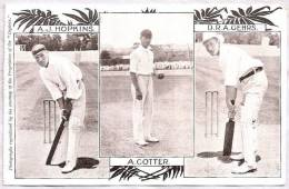 "CPA - Cricket Sport - A.J. Hopkins, A. Cotter, D.R.A. Gehrs - ""Captain"" - Cartoline"