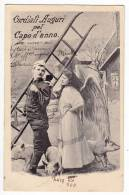 """ANGELS """"FRIENDLY HAPPY NEW YEAR"""" ANGEL CHIMNEY BOY WITH LADER AND PIGS OLD POSTCARD 1909. - Angels"""