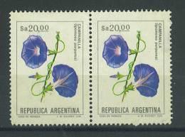 VEND TIMBRE D ´ ARGENTINE , N° 1435 EN PAIRE + VARIETE : TRAITS BLEUS VERTICAUX !!!! - Argentina
