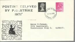 UK 1971 Postal Strike  FDC Sent To Germany  Posting Delayed By P.O. Strike 1971 - Marcophilie