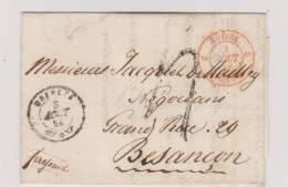 Cachet D´Entrée Suisse 2 Morteau  De Brenets Pour Besançon De 1856 - Marcophilie (Lettres)