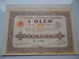 L'OLEO Huiles Et Fournitures (100 Francs) LEVALLOIS-PERRET(1925) - Shareholdings