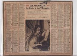 CALENDRIER - ANNEE 1914 - ILLUSTRATION - JEUNES FILLES AU PIANO - FEUILLET AU DOS - Grand Format : 1901-20