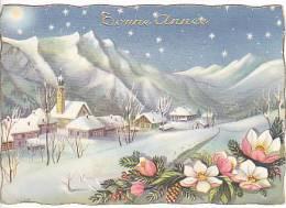 Bonne Année. Village Enneigé. Branche De Sapin Et Fleurs D'églantier. - Nouvel An