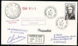 "ANTARCTIC,TAAF,AMSTERDAM , 23.11.1990 ,R/F ""MARION DUFRESNE"" OP 91-2 - Sonstige"