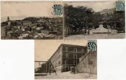 ALGERIE -  3 PIONNIERES 1904  ORAN -   Fontaine AUCOUR - PL.REPUBLIQUE - QU. ST LOUIS  CHATEAU NEUF -CASERNE NEUV (30) - Oran