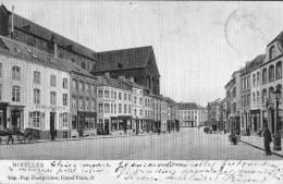 NIVELLES - La Grand'Place - Superbe Carte Colorée, Animée Et Circulée En 1908 - Nivelles