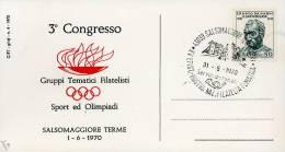 SALSOMAGGIORE TERME TEMATICA FILATELICA SPORT E OLIMPIADI  1970 ANN SPEC FDC - Bolsas Y Salón Para Coleccionistas