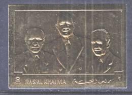 Ras Al-Khama 506  **  PRESIDENT LUBECK, DE GAULLE   GOLD FOIL - Ras Al-Khaima