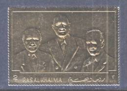 Ras Al-Khama 506a  **  PRESIDENT LUBECK, DE GAULLE   GOLD FOIL - Ras Al-Khaima