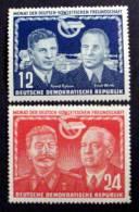 GERMAN DEMOCRATIC REPUBLIC # 92-93. East German - Soviet Friendship. MH (*) - Unused Stamps