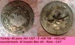 Saudi Arabia - 40 Para -AH 1327 / 5 -KM 766 - HEDJAZ Countermark- Al Husain Ben Ali - Rare - CAT - Arabie Saoudite