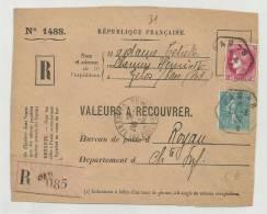 1939 - DEVANT DE LETTRE RECOMMANDE De PAU Pour ROYAN (SEINE MARITIME) - SEMEUSE - CERES - France