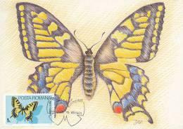 D08726 CARTE MAXIMUM CARD 1985 ROMANIA - BUTTERFLY RAPILLO MACHAON CP ORIGINAL - Butterflies