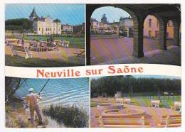 Neuville Sur Saône - Multivue 4 Vues - A Circulé En 1977, Timbre Décollé - Neuville Sur Saone