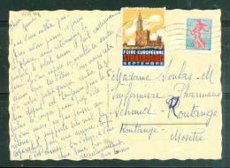 """Vignette Au Dos D'une Carte , """" Foire Européenne Strasbourg Septembre"""" 1962 Oblitéré Poste Aux Armées  Am3009 - Curiosidades: 1960-69 Cartas"""