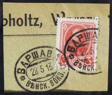 POLISH Warsaw Sation Cancel 28-5-1913 On Mi 84