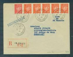 Poche De St Nazaire. Lettre Recommandée La Baule 6.11.44, Arrivée Pornichet Le 7. Cote Yvert 300€ - Marcophilie (Lettres)