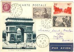 VUES DE PARIS  N° 2 COULEUR VERTE DESTINATION OUJDA - PIECE PHILATELIQUE - Cartoline Postali E Su Commissione Privata TSC (ante 1995)