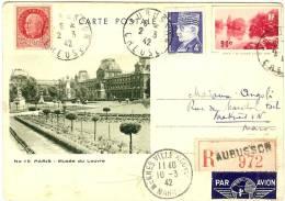BOIS DE BOULOGNE N° 15 COULEUR VERTE DESTINATION MEKNES - PIECE PHILATELIQUE - Postal Stamped Stationery