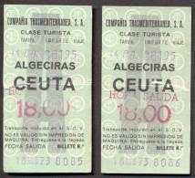 2 Tickets - Algeciras / Ceuta - 1973. - Billets D'embarquement De Bateau