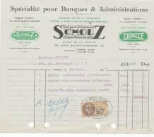 Facture Lettre-scholz-tout Pour Bureaux-paris-215mmx185mm - 1900 – 1949
