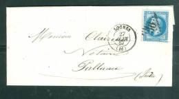Sur LAC Oblitération GC  2066  ( Mal Venu )  (  Loches   Sur N°29 EN 1867   - AM3121 - Postmark Collection (Covers)