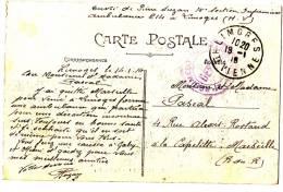 Cachet Militaire Guerre 14 18 Peu Commun Sur Carte Postale Depot De LIMOGES - Militaria