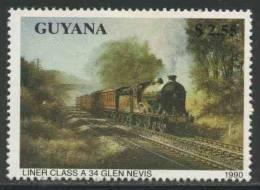 Guyana 1990 Mi 3171 ** Liner Class A 34 Glenn Nevis / Liner-Klasse A 34 - Dampflokomotiven - Treinen