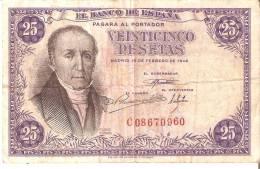 BILLETE DE ESPAÑA DE 25 PTAS DEL 19/02/1946 SERIE C  CALIDAD RC (BANKNOTE) - 25 Pesetas