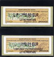 ATM-LISA 2 : L PRIO 0,60 € +vignette Complément L PRIO  0,01 €  - MARCOPHILEX - EPERNAY 20-21 Octobre 2012 - Vignettes D'affranchissement
