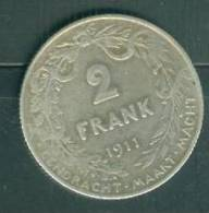 """Belgique 2 Francs , """" Frank """"  Argent , Silver, 1911 , Albert 1er      - Ah7409 - 1909-1934: Albert I"""