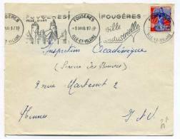 Lettre Avec Flamme De FOUGERES / Ville Industrielle / Ville D'Art - 1er Avril 1960 - 1921-1960: Periodo Moderno
