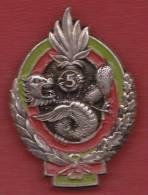 Légion / 5° R.E. I. - Insigne Argenté / Plein / Peinture Rouge Et Verte - Original - Armée De Terre