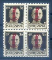 ITALY RSI - 1944 BLOCK OF 4 - V2940 - 4. 1944-45 Repubblica Sociale
