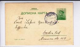 SERBIE - 1912 - CARTE ENTIER POSTAL De KRAGUVEJAC Pour BERLIN - Serbie