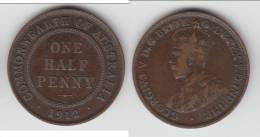 AUSTRALIE - AUSTRALIA **** 1/2 - HALF PENNY 1912 GEORGE V **** EN ACHAT IMMEDIAT !!! - Monnaie Pré-décimale (1910-1965)