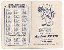 - Calendrier 1965 - Charcuterie André PETIT à MESNIL-ESNARD - - Petit Format : 1961-70