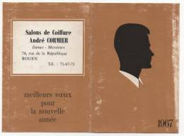 - Calendrier 1967 - Salon De Coiffure, André CORMIER à ROUEN. - - Petit Format : 1961-70