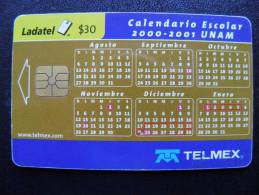 Chip Phone Card From Mexico, Ladatel Telmex, Calendar - Mexico