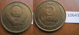 Rusia  5  Kopeck , Centimos 1988 - Monedas