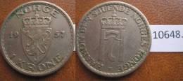 Noruega  1 Corona 1957 - Monedas