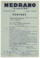 ° CONTRAT D'ARTISTE ° LE CIRQUE DE PARIS MEDRANO ° - France